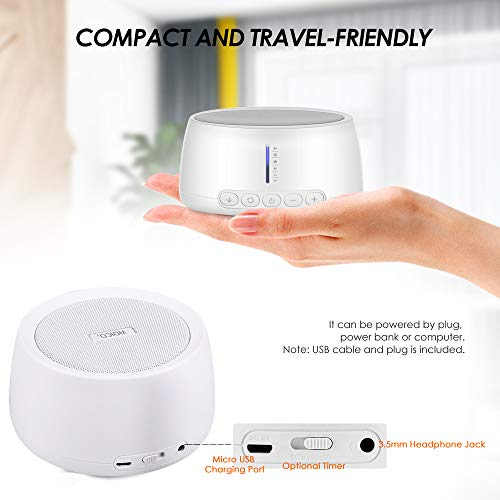 White Noise Machine, MOICO Sound Machines for Sleeping with 30 Non-Looping Soothing Sounds, 20 Levels of Volume, Timer & Memory Function, Sleep Machines for Baby Adults Travel Office Privacy
