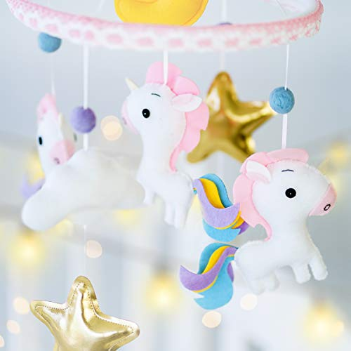 Unicorn Baby Mobile Felt Nursery Crib Mobile Handmade Baby Shower Gift for Girl