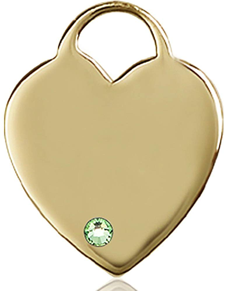 Bonyak Jewelry 14kt Yellow Gold Heart Medal with 3mm August Green Swarovski Crystal 1 x 3/4 inches
