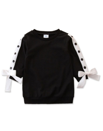 Girls Side Bows Buttoned Sweater
