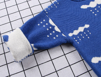 Cloud & Rain Pattern Crochet Sweater