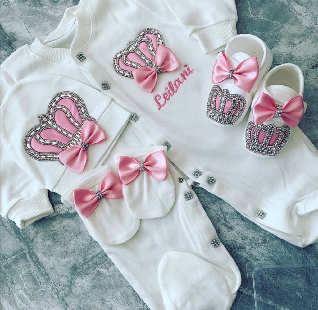Satin Jeweled Crown Onesie Newborn Gift Set