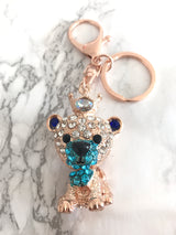 Royal Lion Swarovski Crystal Blue Keychain