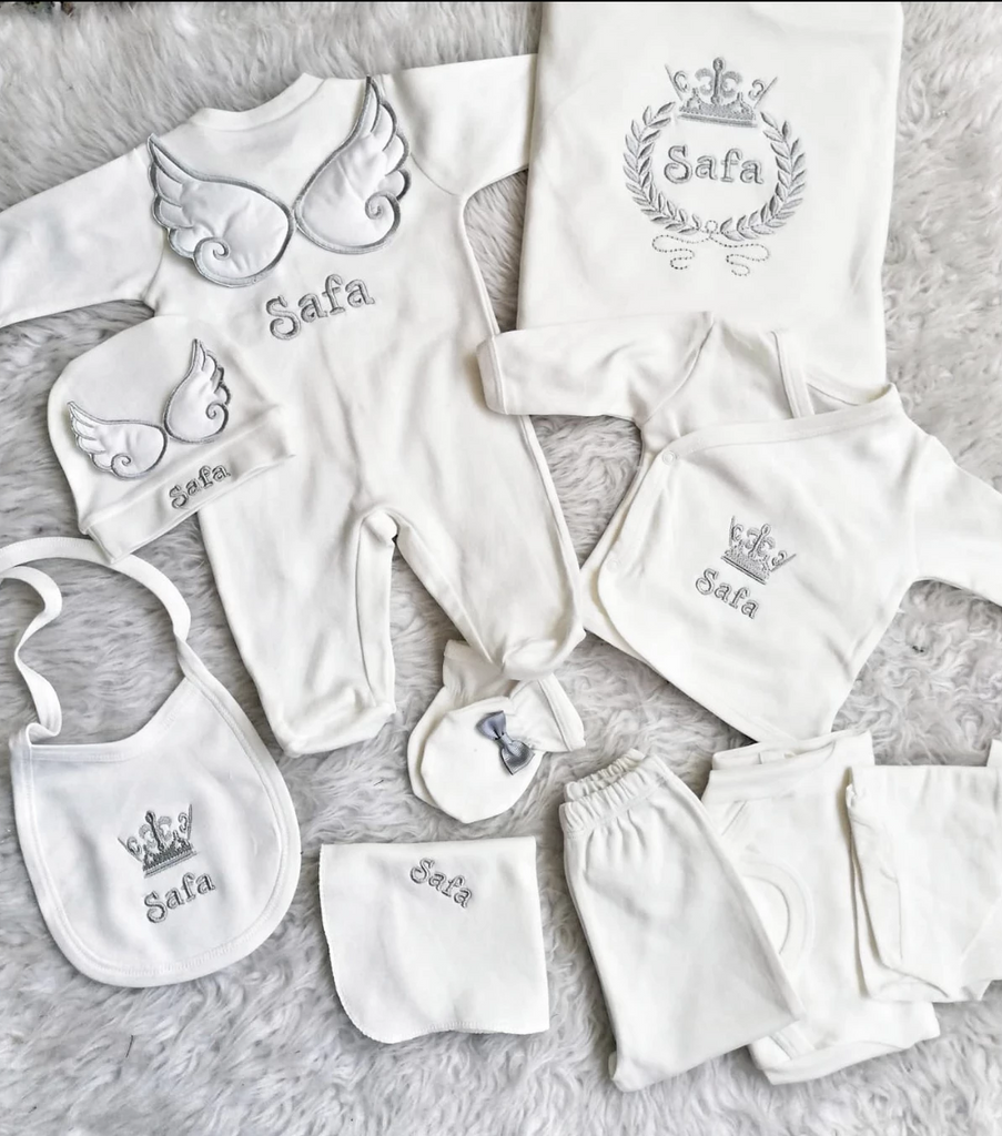 Newborn Angel Wings Personalized Onesie Gift Set