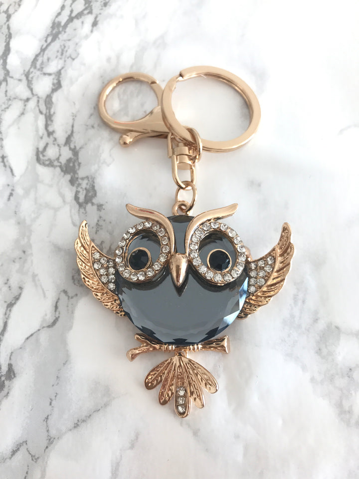 Beautiful Owl Swarovski Crystal Keychain