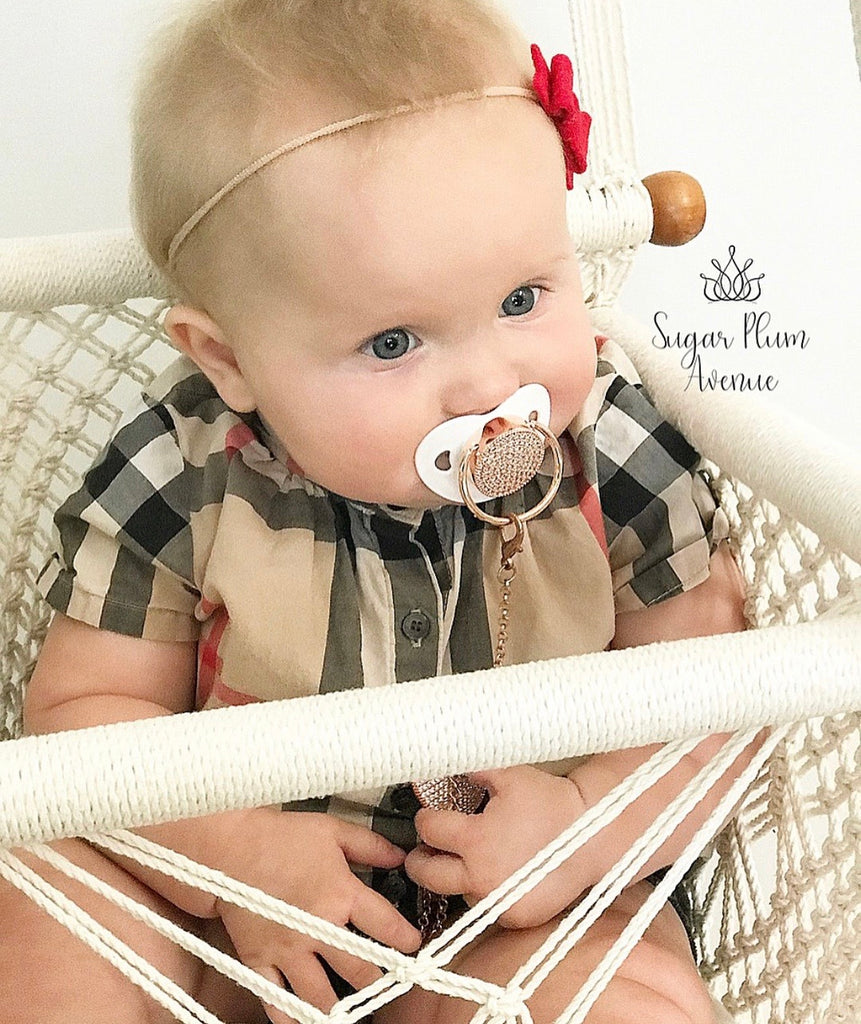 Chic Swarovski Crystal Bling Pacifier in Silver, Gold & Rose Gold