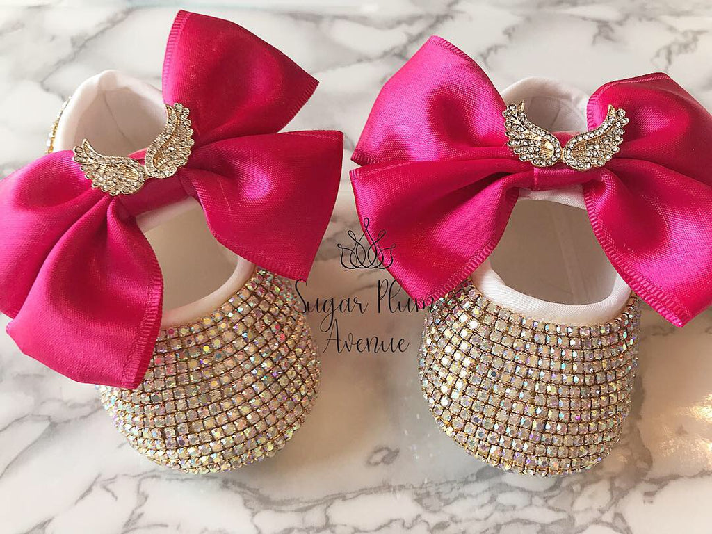 Angel Wing Satin Bow Baby Shoes
