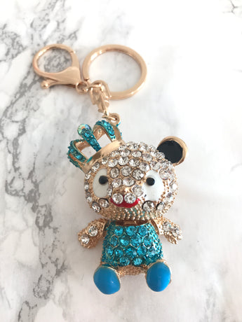 Royal Bear Blue Swarovski Crystal Keychain