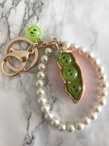 Adorable Pea in the Pod Pearl Keychain