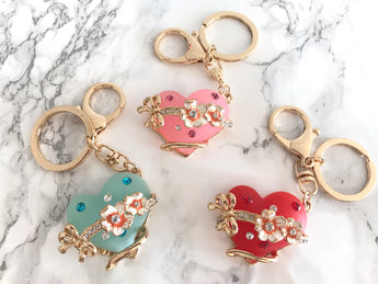 Heart Flower & Bow Swarovski Crystal Keychain