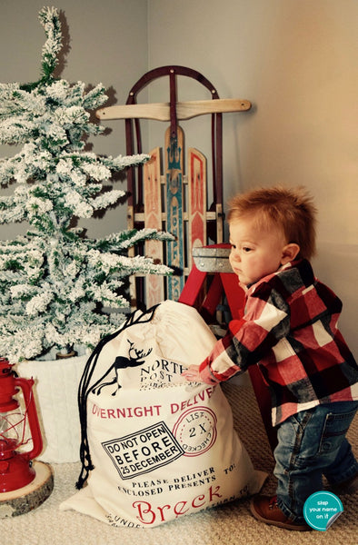 Santa Toy Sack with Child's Name || Personalized Santa Bag || Santa Gift Bag for Christmas