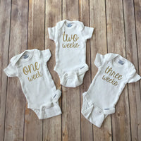 Weekly & Monthly Onesies® Set || Infant Milestone Bodysuits || Baby's First Year Set || Baby Shower Gift || GLITTER AVAILABLE