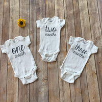 Monthly Onesies® || Set of 12 || Baby Milestone Bodysuits || Baby's First Year || Baby Shower Gift || GLITTER AVAILABLE