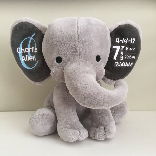 Plush Elephant with Birth Stats || New Baby Gift || Nursery Decor || Personalized Name and Birth Statistics || Baby Shower Gift