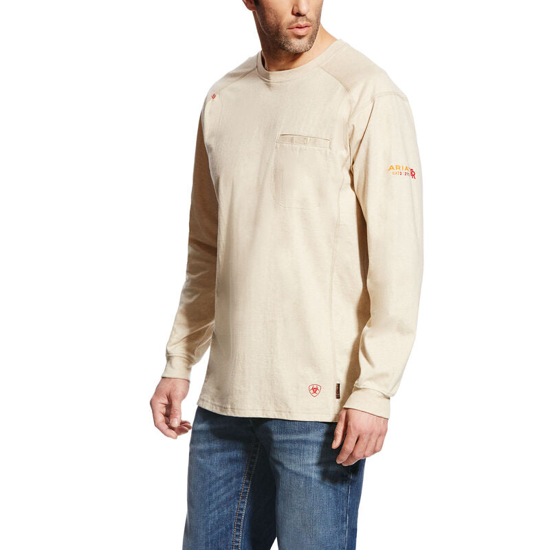 Ariat, Knit-Shirt, FR Air Crew T-Shirt, Sand Heather, #10022328