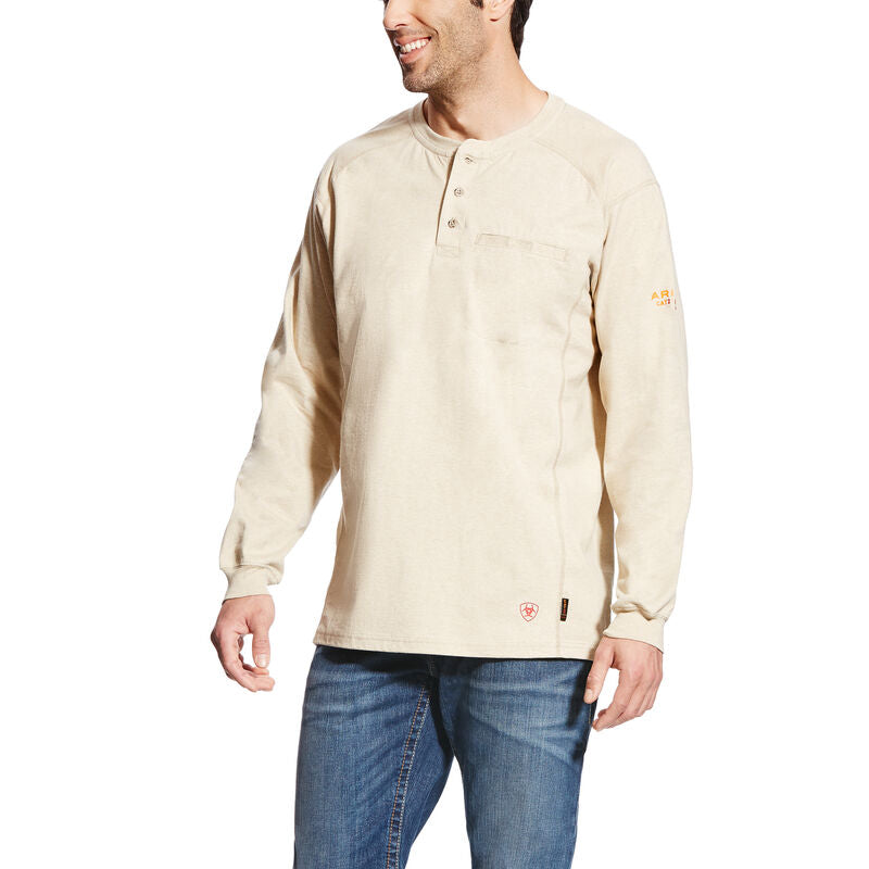 Ariat, Knit-Shirt, FR Air Henley Top, Sand Heather