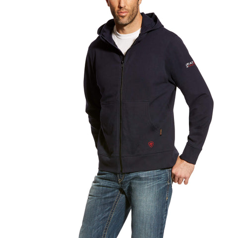 Hoodie, FR Durastretch 11oz Ariat, Full Zip, Navy, #10023979