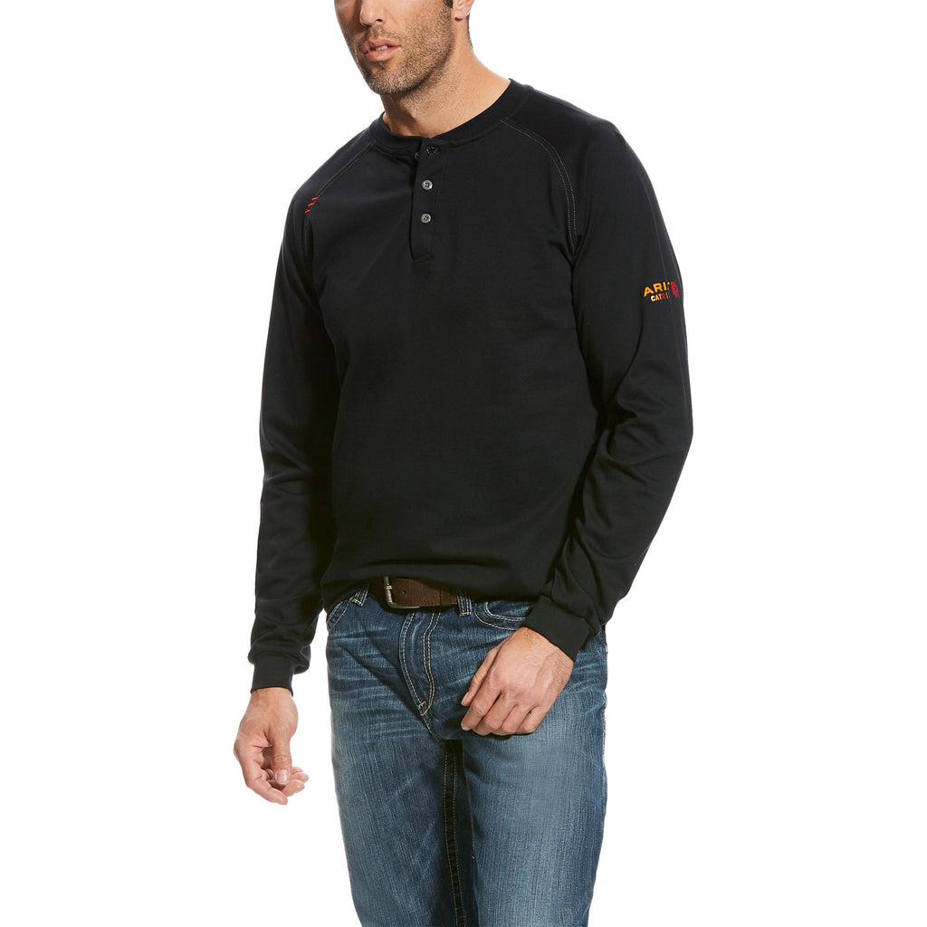 Ariat, Knit-Shirt Henley, Black, #10024036
