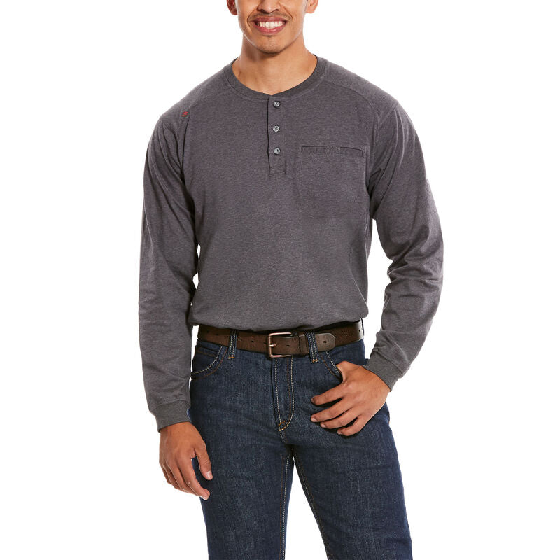 Ariat, Knit-Shirt, FR Air Henley Top, Charcoal Heather