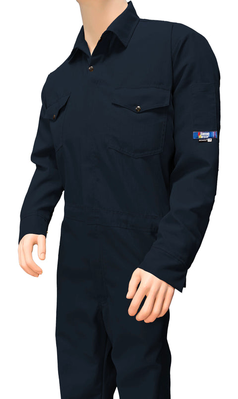 Coverall, Deluxe, FR Nomex 6 oz, Snap and Zipper Front