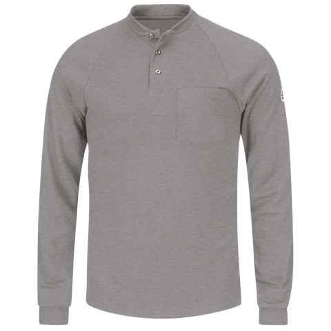 Shirt Knit Cool Touch 2 Swiss Pique FR 6.5oz Bulwark Long Sleeve Henley #sml2