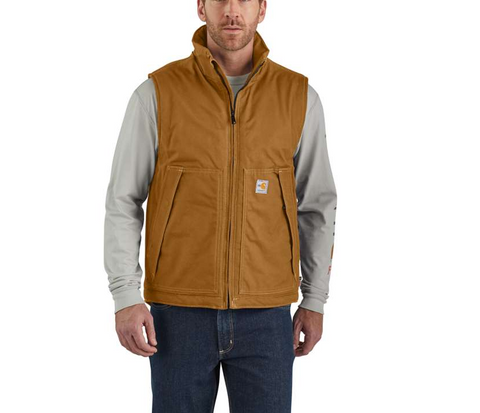 Vest Insulated, FR Quick Duck, 8.5oz, Carhartt, Brown, Navy, #103387