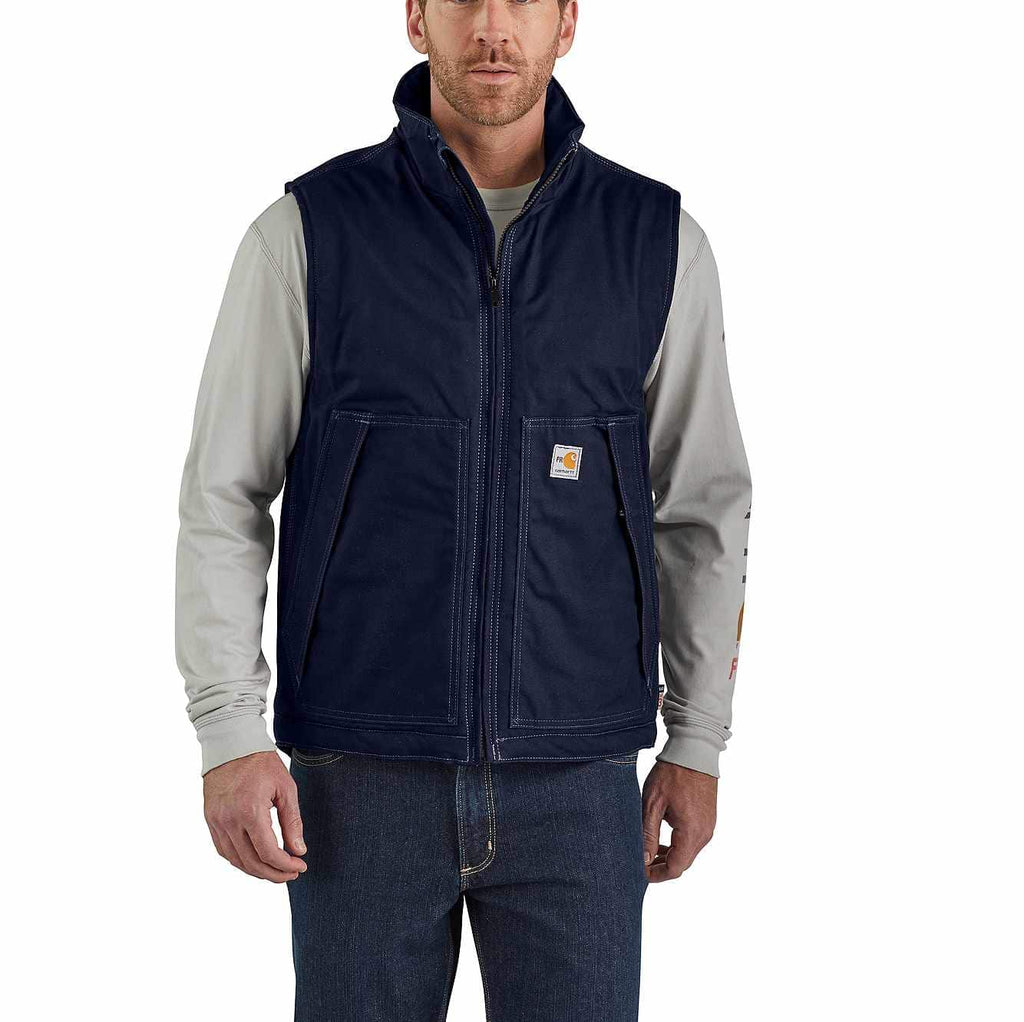 Vest Insulated, FR Quick Duck, 8.5oz, Carhartt, Brown, Navy, 103387