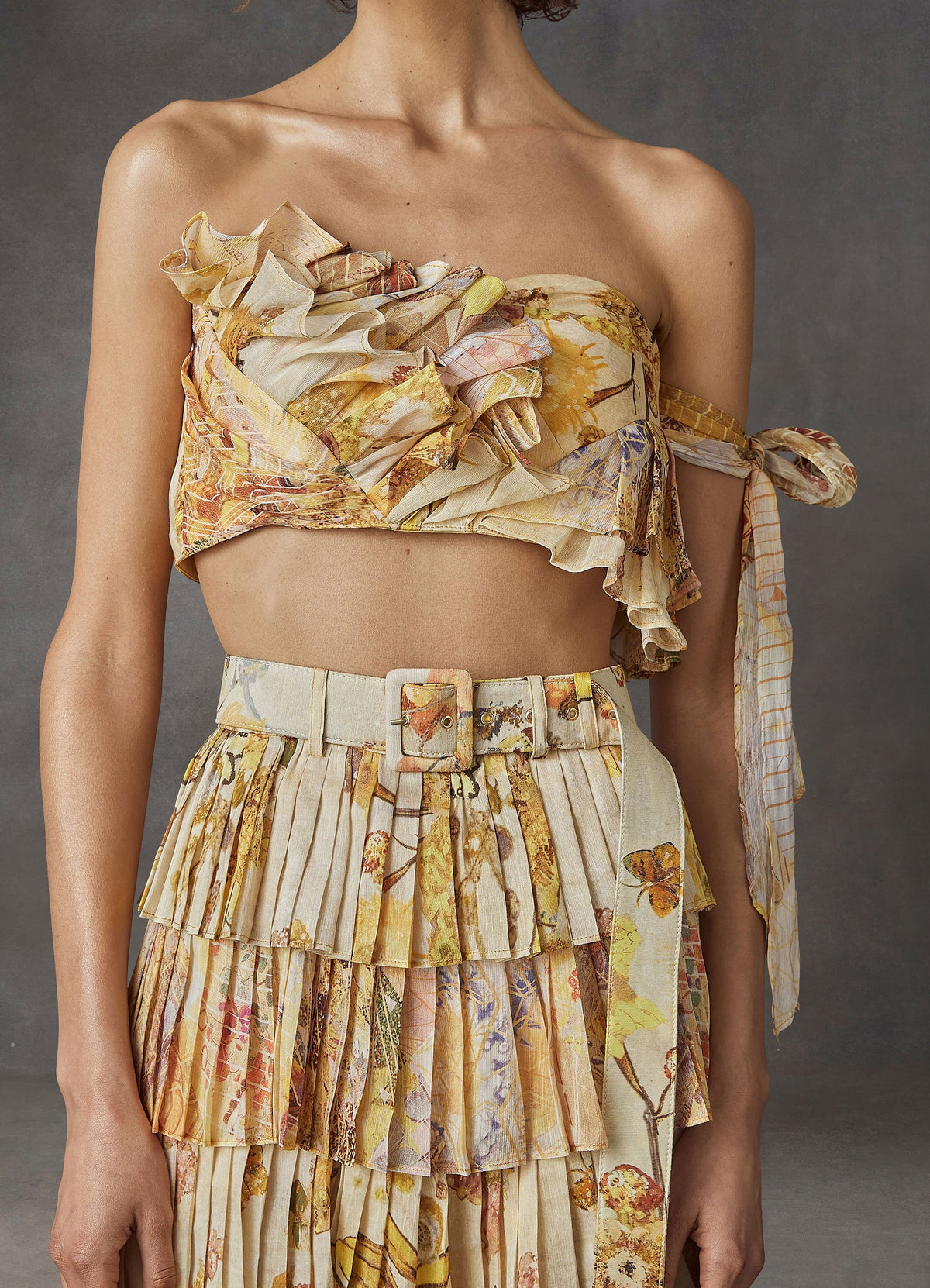 Sun-Kissed Silk Pleated Skirt