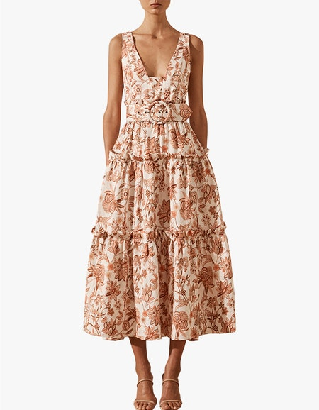 Carolina Linen Tiered Midi Dress