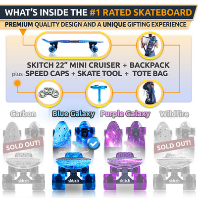 SKITCH® Complete Skateboard Gift Set for Beginners Kids Boys and Girls with 22 Inch Mini Cruiser Board + Skateboard Backpack + Skate Tool + Tote Bag (Blue Galaxy)