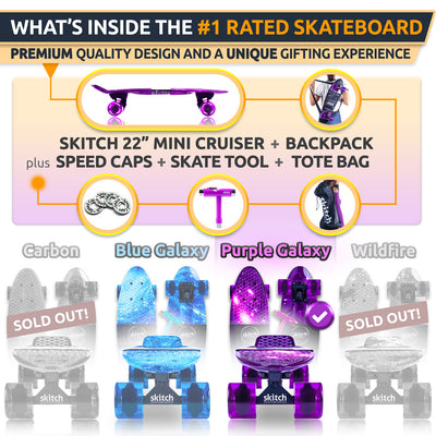 SKITCH® Complete Skateboard Gift Set for Beginners Kids Girls and Boys with 22 Inch Mini Cruiser Board + Skateboard Backpack + Skate Tool + Tote Bag (Purple Galaxy)