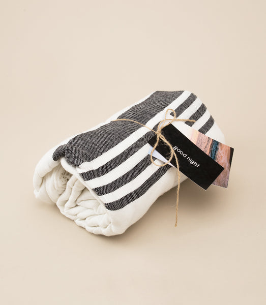 LOCANO INABEL BLACK STRIPE BLANKET