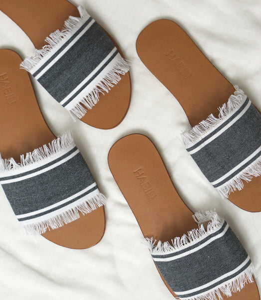 TALIA SLIDES BY HABIN / GRAY+WHITE - MAAARI