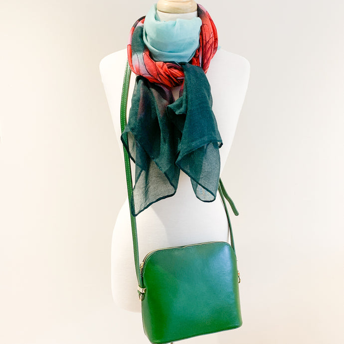 Manarola Bag and Pine Green Flower Scarf
