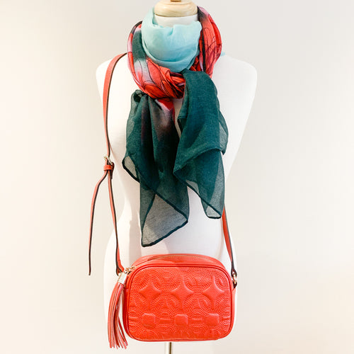 Perugia Bag and Pine Green Flower Scarf