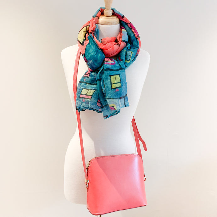 Manarola Handbag and Aqua Window Scarf
