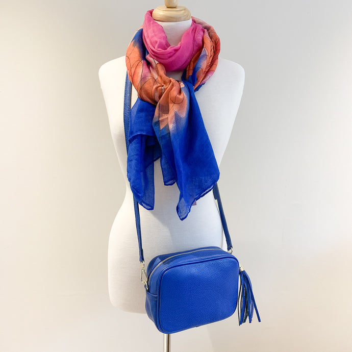 Genoa Handbag and Bright Blue Flower Scarf