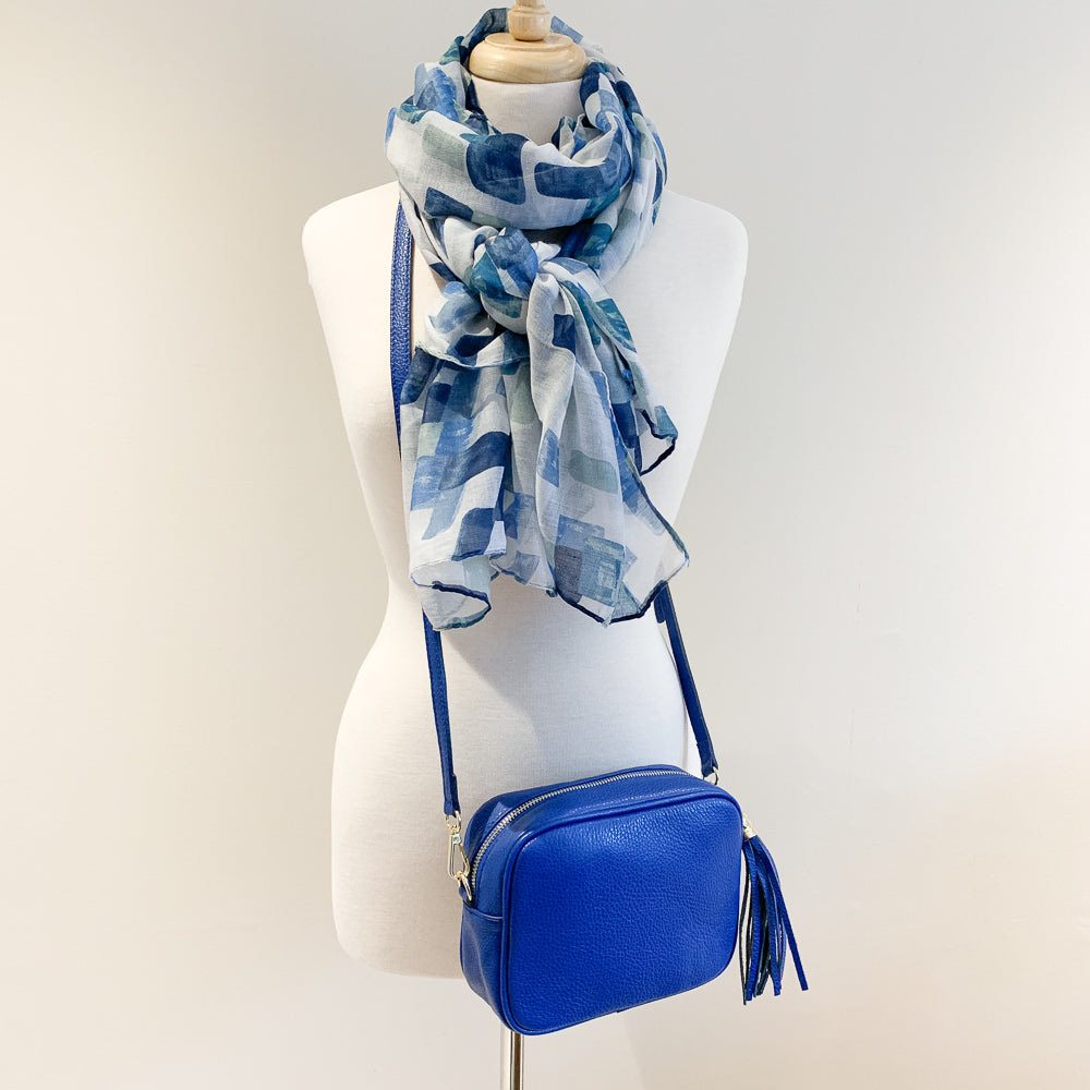 Genoa Handbag and Blue Pixel Scarf