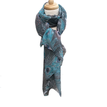 Grey Peacock Feather Scarf