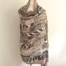 Animal Print Scarf - Brown and Cream
