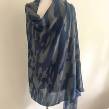 Navy and Grey Abstract Scarf