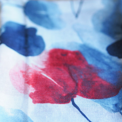 Watercolour Poppy Scarf - Blue and Red