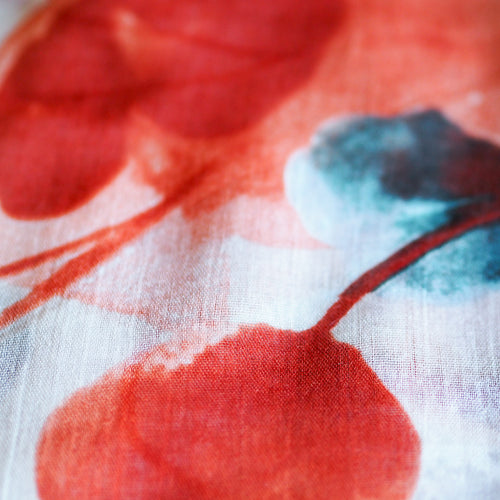 Watercolour Poppy Scarf - Orange and Grey