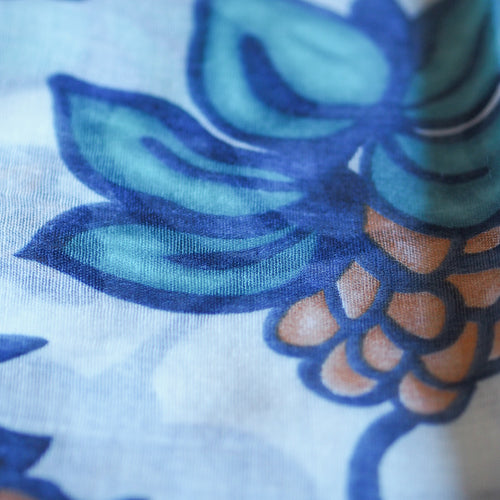 Leaves and Flowers Scarf - Blue