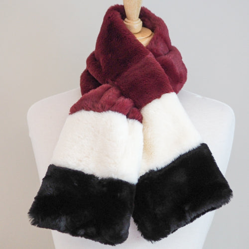 Faux Fur Wrap Around Scarf - Red Mix