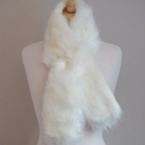 Faux Fur Wrap Around Scarf - Soft White