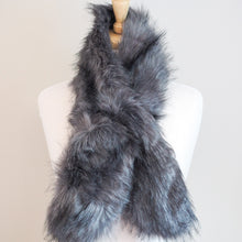 Faux Fur Wrap Around Scarf - Grey