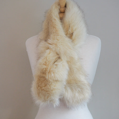 Faux Fur Wrap Around Scarf - Cream