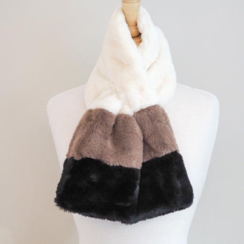 Faux Fur Wrap Around Scarf - Brown Mix