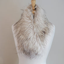Faux Fur Collar - Cream/Grey